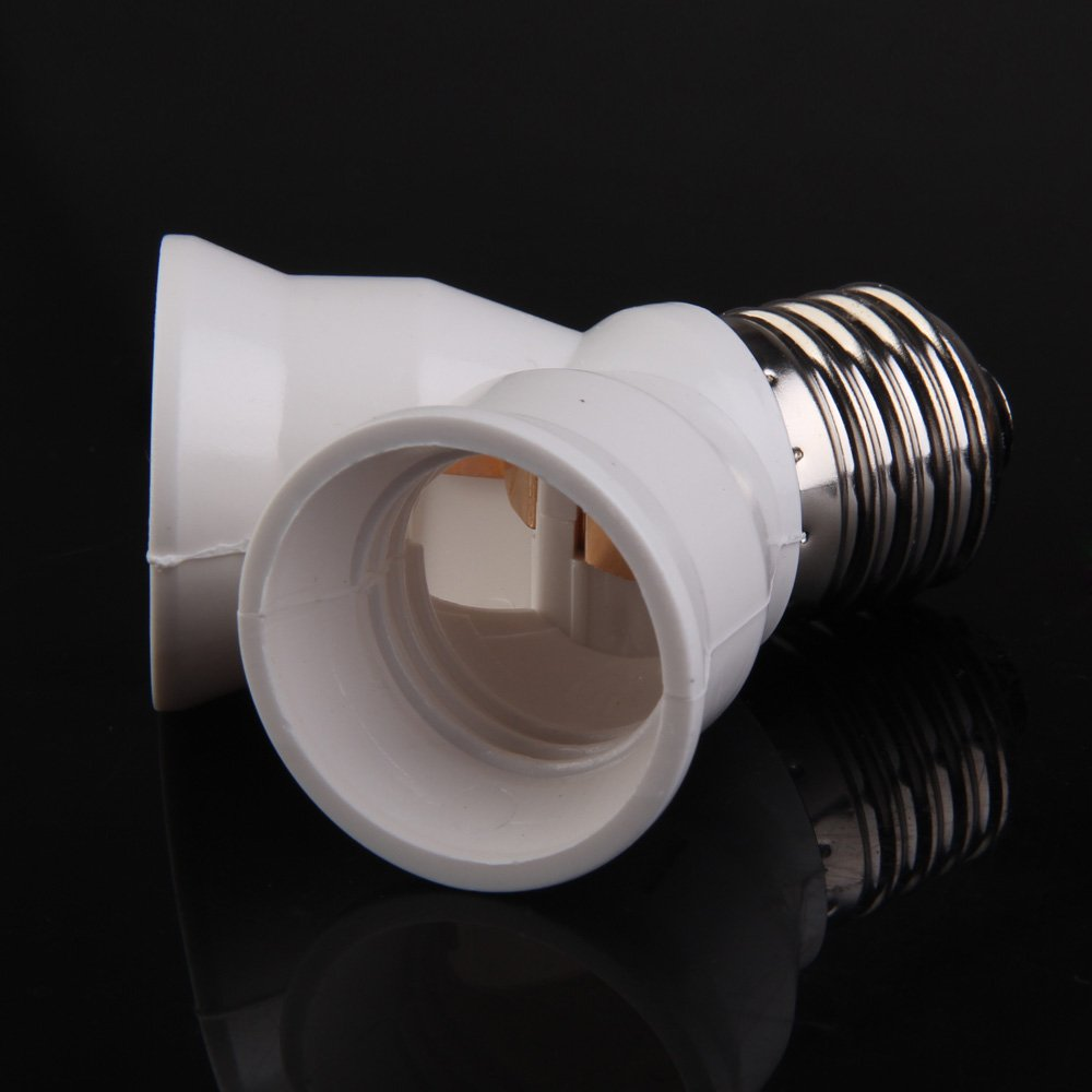 Whitelotous E27 Base Light Lamp Bulb Socket 1 to 2 Splitter Adapter Converter Socket