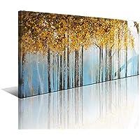 LVLART Cuadros Modernos Baratos Pinturas al óleo sobre Lienzo 3D,Gran Bosque Amarillo Totalmente Pintada Mano Pared Cuadros Art Deco,Pintura Acrilica Abstractas Sala Estar Dormitorio