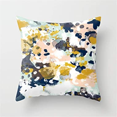 Jay94 Sloane - Abstract Painting in Modern Fresh Colors Navy, Mint, Blush, Cream, White, and Gold Throw Pillow Case Cushion Cover 18 X 18 inches