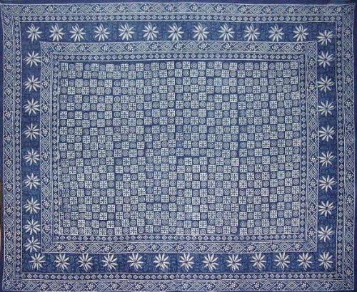 Homestead Dabu Indian Tapestry-Beach-Picnic-Bed-Many Uses-Indigo Blue-B