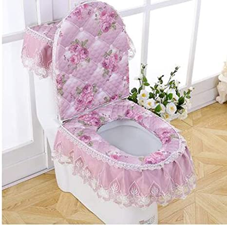 Lid Cover WSHINE Velet Embroidery Toilet Accessories Tank Cover Toilet Seat Cover gray