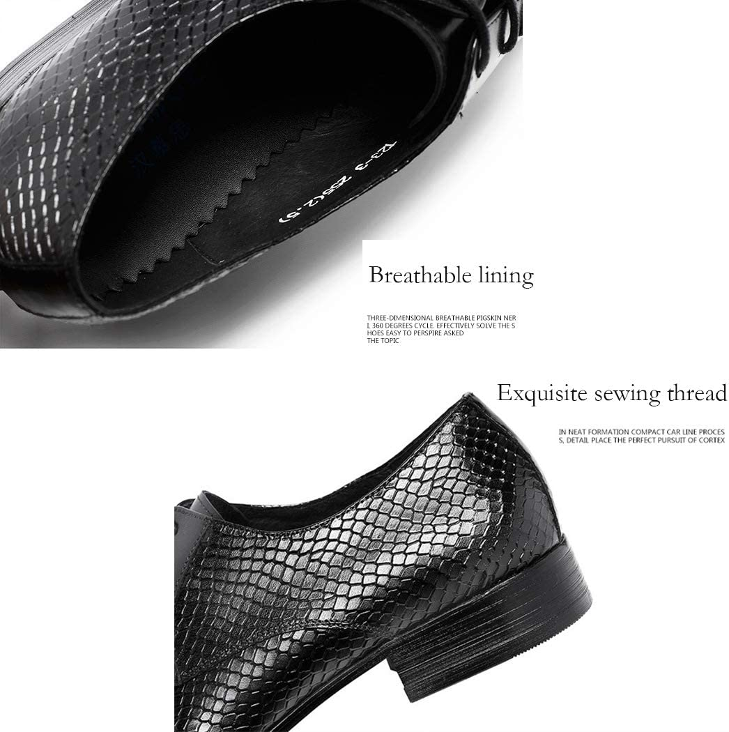 LYMYY Mens Shoes Handmade High-Grade Dress Shoes Snake Pattern Pointed Male Shoes,Office Business Work Evening Party Casual