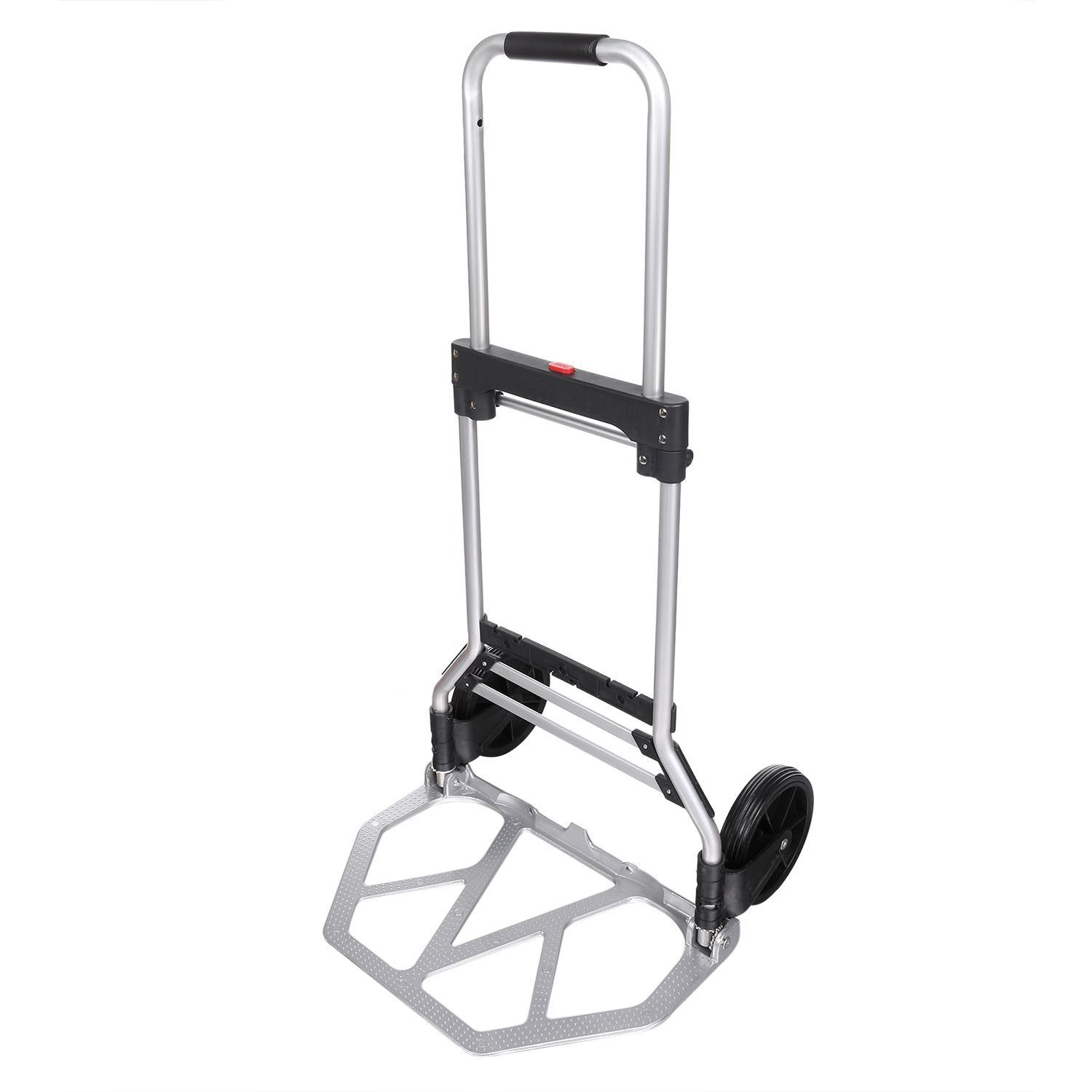 Pesters 220lbs Heavy Duty Folding Hand Truck Dolly, Aluminium Hand Collapsible Trolley Luggage Cart (US STOCK)