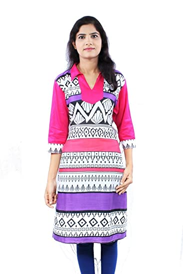 a17186f04 Cotton Lycra Printed Medium Length Casual Wear Women Kurti: Amazon.in:  Clothing & Accessories