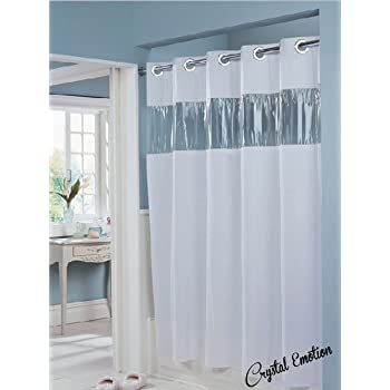 Fabric Hookless Shower Curtain With Built In Liner