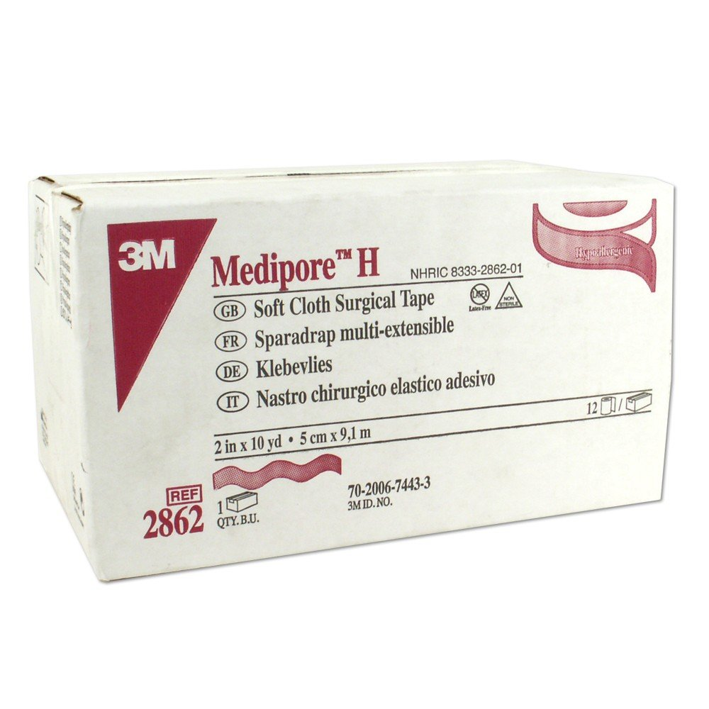 3M Medipore H Soft Cloth Surgical Tape 2 Inch Wide, 12-Count