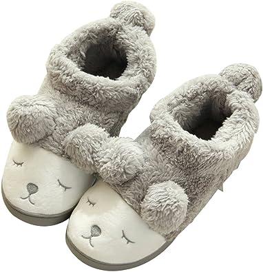 C'wait Women Cute Fuzzy Slipper Boots