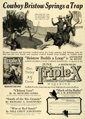 1927 Art (1927 Ad Cowboy Jeff Bristow Fawcetts Triple X Western Publication Anthony M Rud - Original Print Ad)