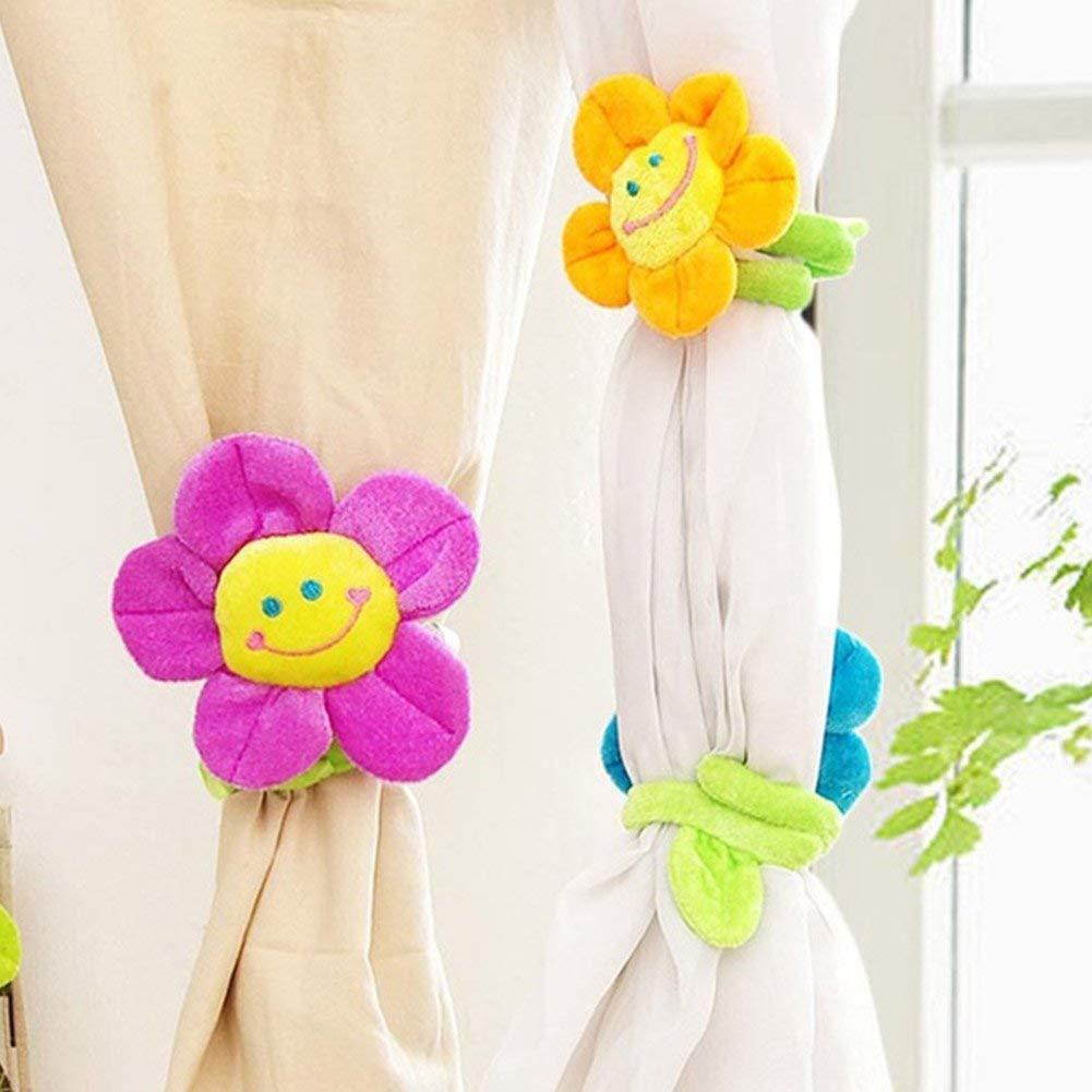 Free Size QPllRZZ 1 Paire Sourire Fleur Rideau Fermoirs Mignon Cartoon Rideau Boucles Rideaux Tenture Embrasse Binds Orange - Rose