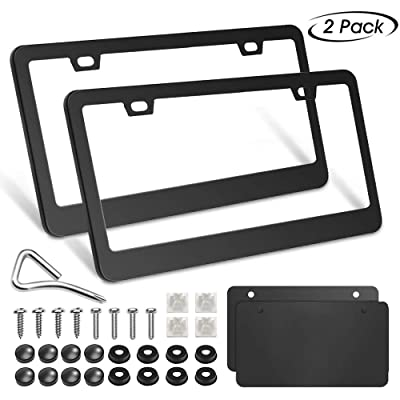 innislink Black License Plate Frame 2 Holes, 2 PCS Matte Aluminum Powder Coated Licence Plate Covers with Screw Caps, Slim Car License Plate Holders with Sponge Shock Pads for US Vehicles: Automotive