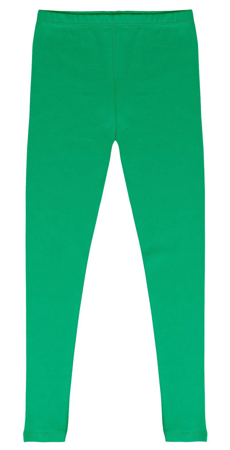 CAOMP Girls'%100 Organic Cotton Leggings for School or Play (9-10, Green)