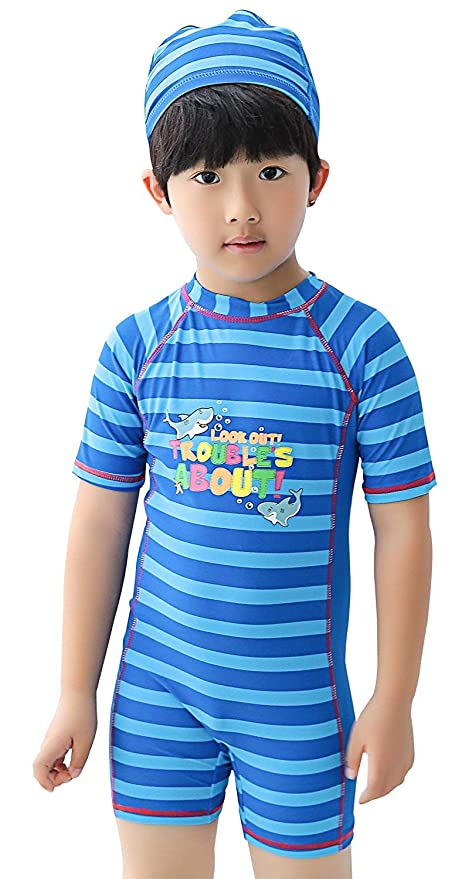 1730db8bb3a Meeyocc Boys One Piece Swimwear Set Short Sleeve Wetsuit Stripes Boyleg Bathing  Suit Rash Guard for