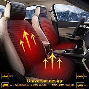 Bangled Heated Car Seat Cushion Cover with 3 Heating Levels, 12V/24V Car Seat Warmer, Heating Seat Cushion Cover for Car Truck SUV MPV