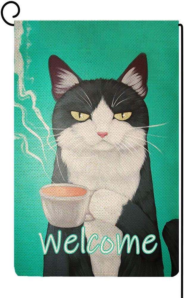 Baccessor Cat Garden Flag Welcome Flag Cute Funny Black Cat Pet Small Vertical Burlap Double Sided 12x18 Inch Yard Flag Farmhouse Spring Summer Home House Lawn Decor (Coffee Cat)