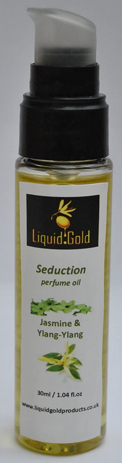 "100% Natural perfume oil, alcohol free, with essential oils of jasmine, ylang ylang and dittany 30ml (""Seduction"") Liquid Gold Products"