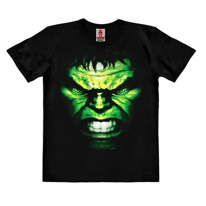 d993e8d26 Logoshirt Marvel Comics - Hulk Cara Camiseta 100% Algodón Ecológico para  Niño - Negro - Diseño Original con Licencia  Amazon.es  Ropa y accesorios