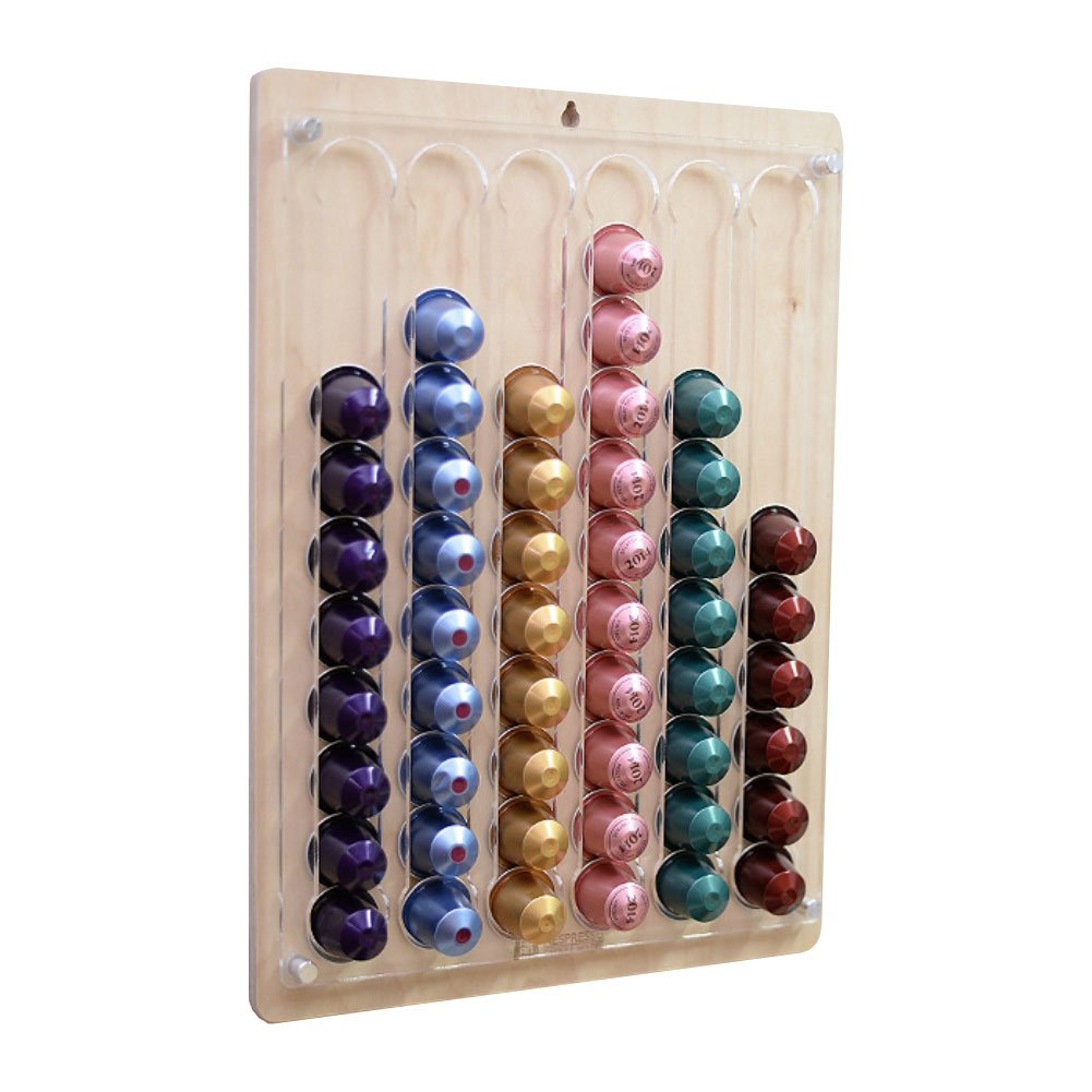 ROAN Wall-hanging Coffee Capsule Holder and Dispenser Storage Solution for Nespresso, Birch and Acrylic (60 Capsule Capacity)