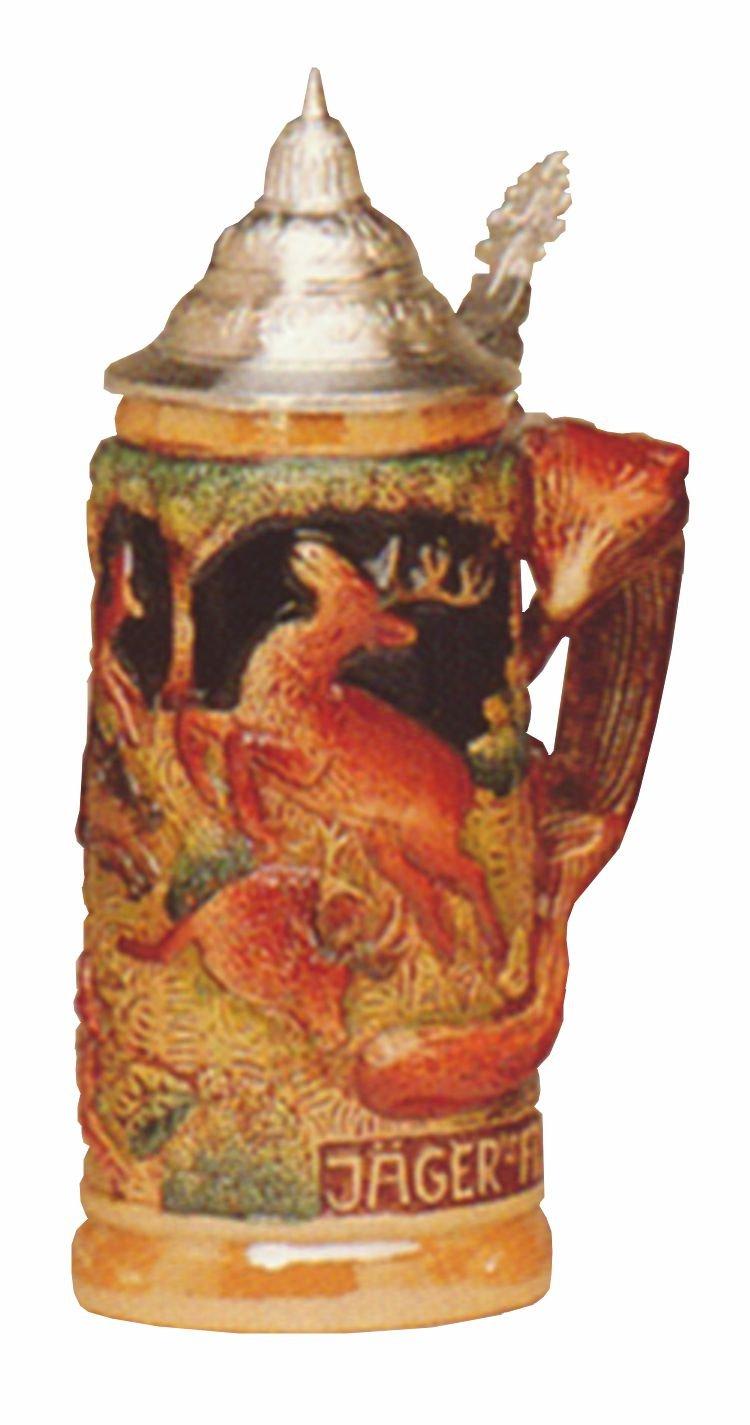 German Beer Stein Fox handle hunting stein 0.5 liter tankard, beer mug