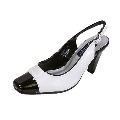 dcf998cab Peerage FIC Roxy Women Extra Wide Width Leather Slingback White/Black 6