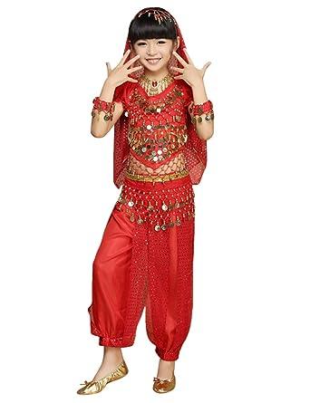 70e2ea462bc0 besbomig Kids Ragazze Costume di Danza del Ventre - Bambini Chiffon Bella India  Dance Outfit Vestito