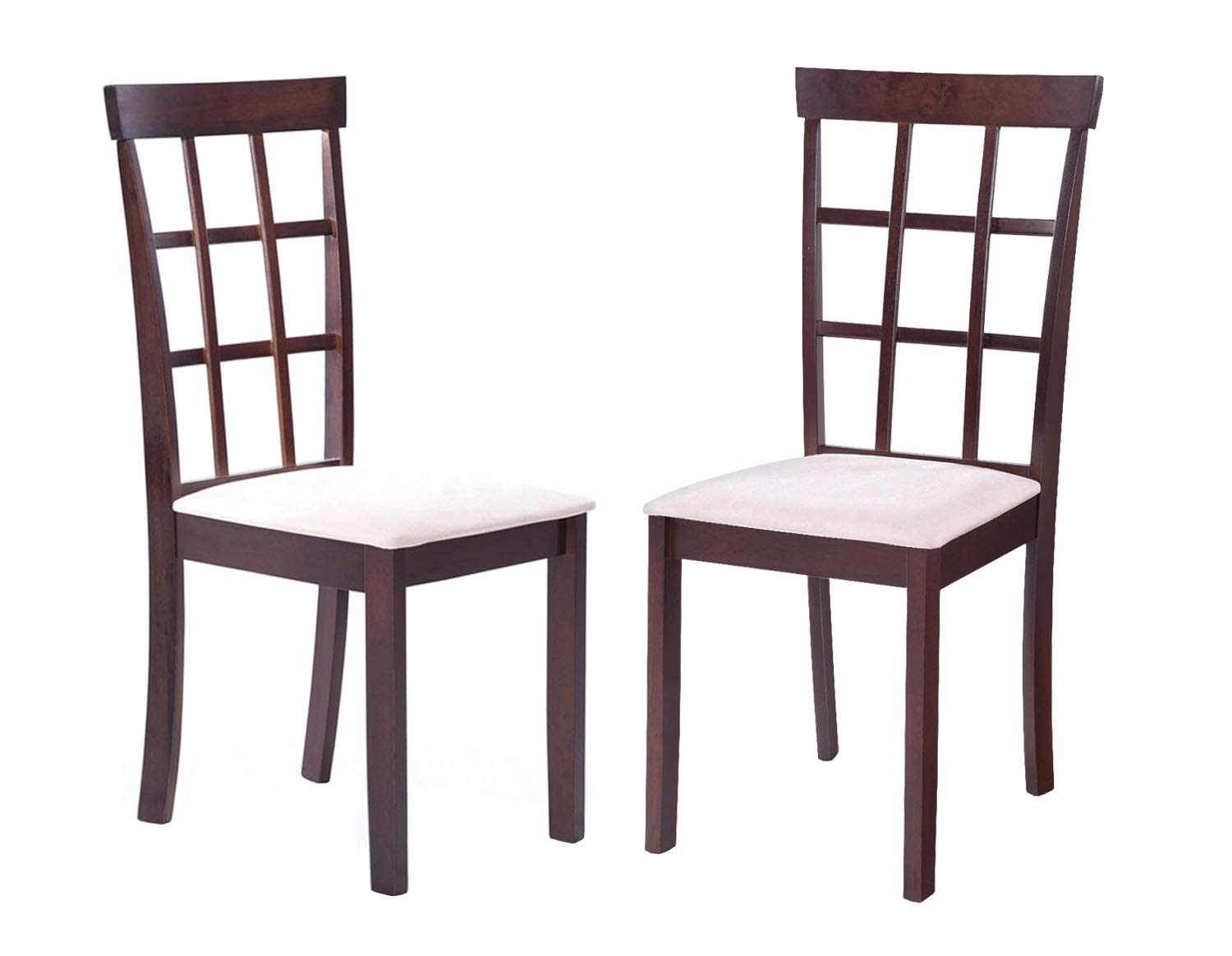 Amazon com harperbright designs rustic dining chairs set of 2 on rubber wood dining side chair with microsuede upholstered seat set of 2 chairs kitchen