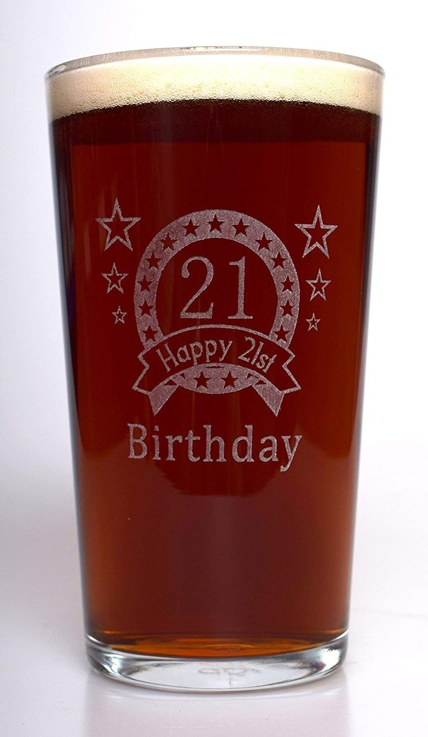 (FBA) 21ST Birthday Star Pint Glass Gift Cr8 A Gift
