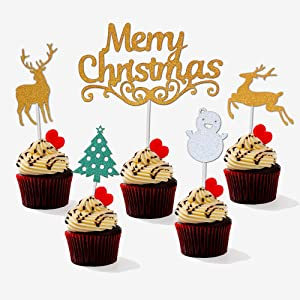 Christmas Cupcake Toppers 25 Pc Glitter Cupcake Topper with Tree Reindeer and Snowman for Cake Decor