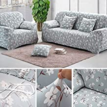 Bluecookies Printed Stretch Loveseat Cover 1-Piece Spandex Fabric Couch Slipcover Protector Flower