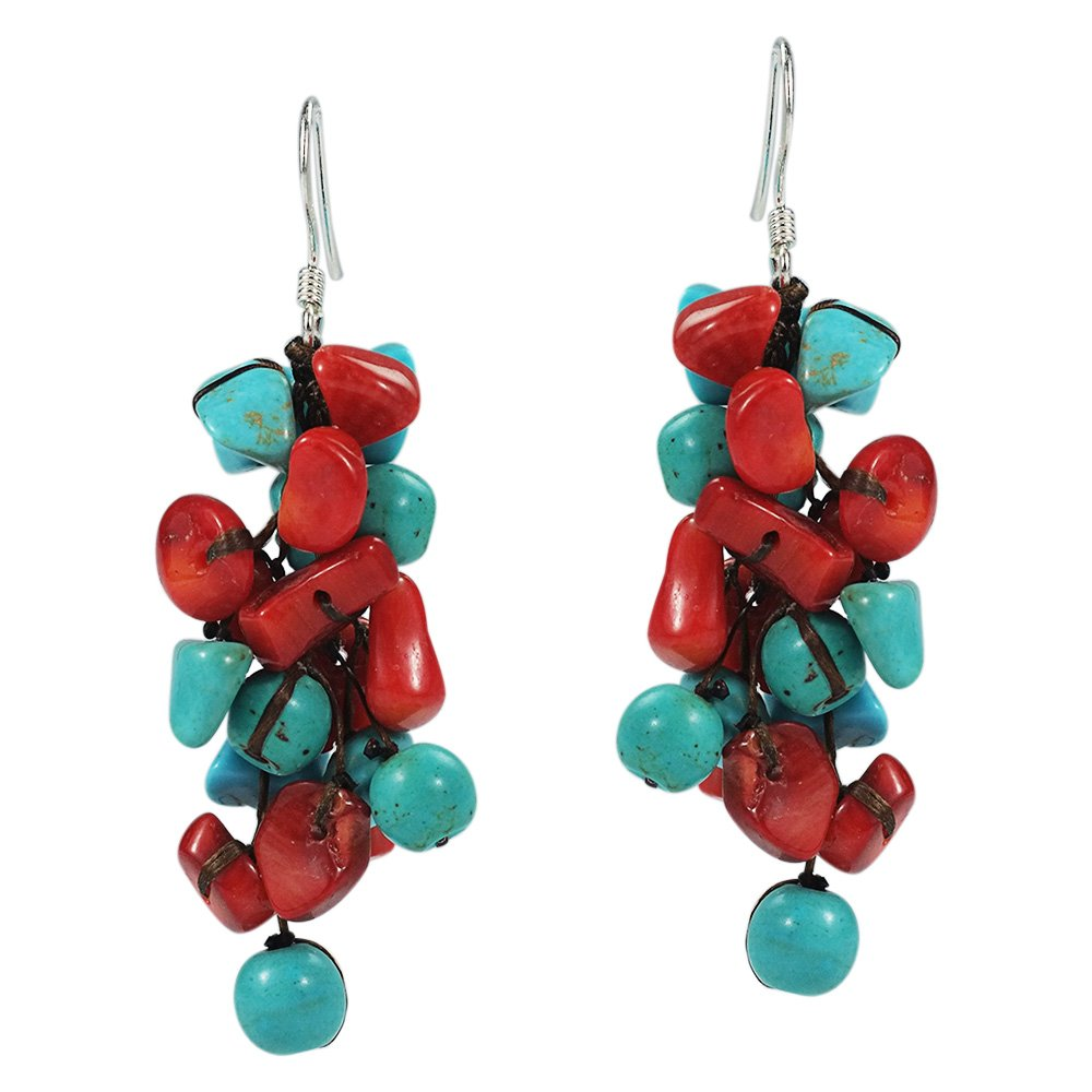 Cluster Simulated Turquoise and Reconstructed Coral Drop .925 Sterling Silver Earrings by AeraVida (Image #1)