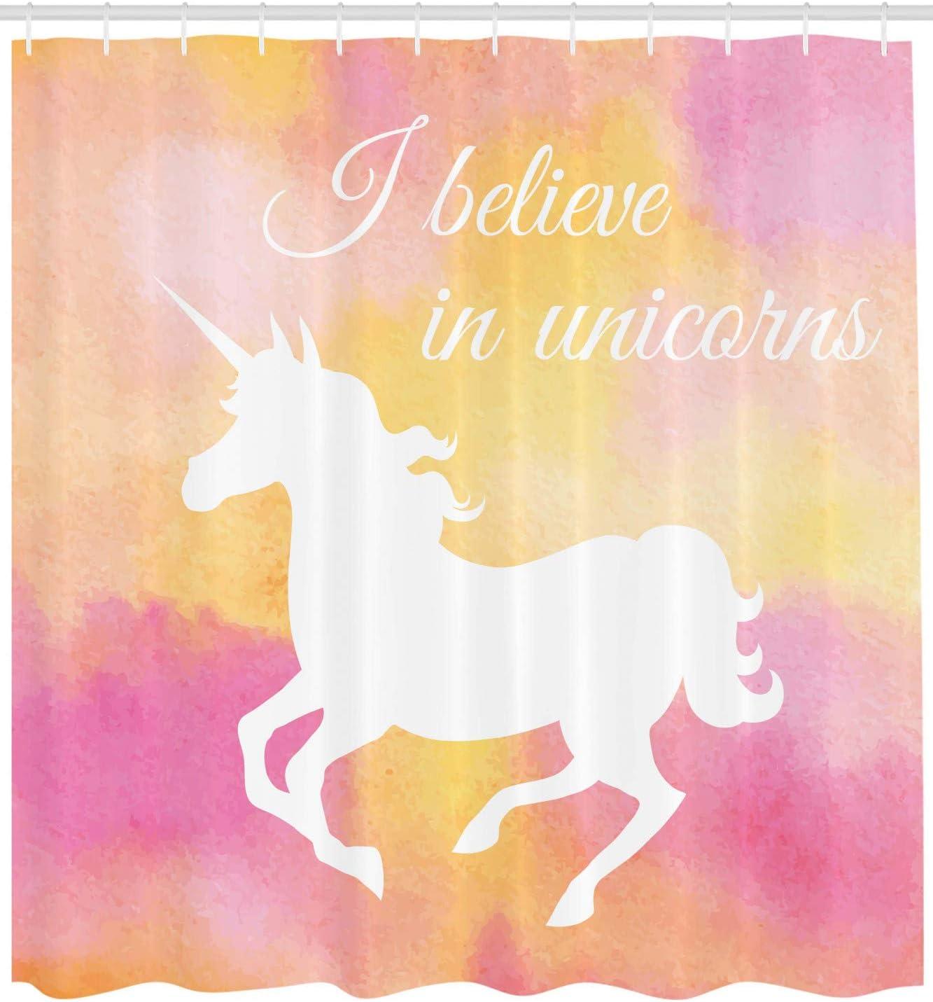 Amazon.com: Unicorn cortina de ducha por lunarable, silueta ...