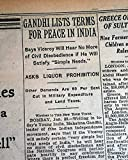 """THE NEW YORK TIMES, January 31, 1930 * Mohandas Karamchand Gandhi (Mahatma) * Movement for India's independence (salt tax) Page 8 has one column headings: """"GANDHI LISTS TERMS FOR PEACE IN INDIA"""" """"Says Viceroy Will Hear No More of Civil Disobedience i..."""
