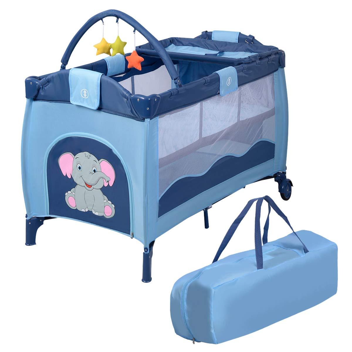 COSTWAY Reisebett klappbar   Babyreisebett Farbwahl   Kinderreisebett mit Rollen   Babybett   Kinderbett Inkl. Spielbogen Tragetasche Wickelauflage (Blau)