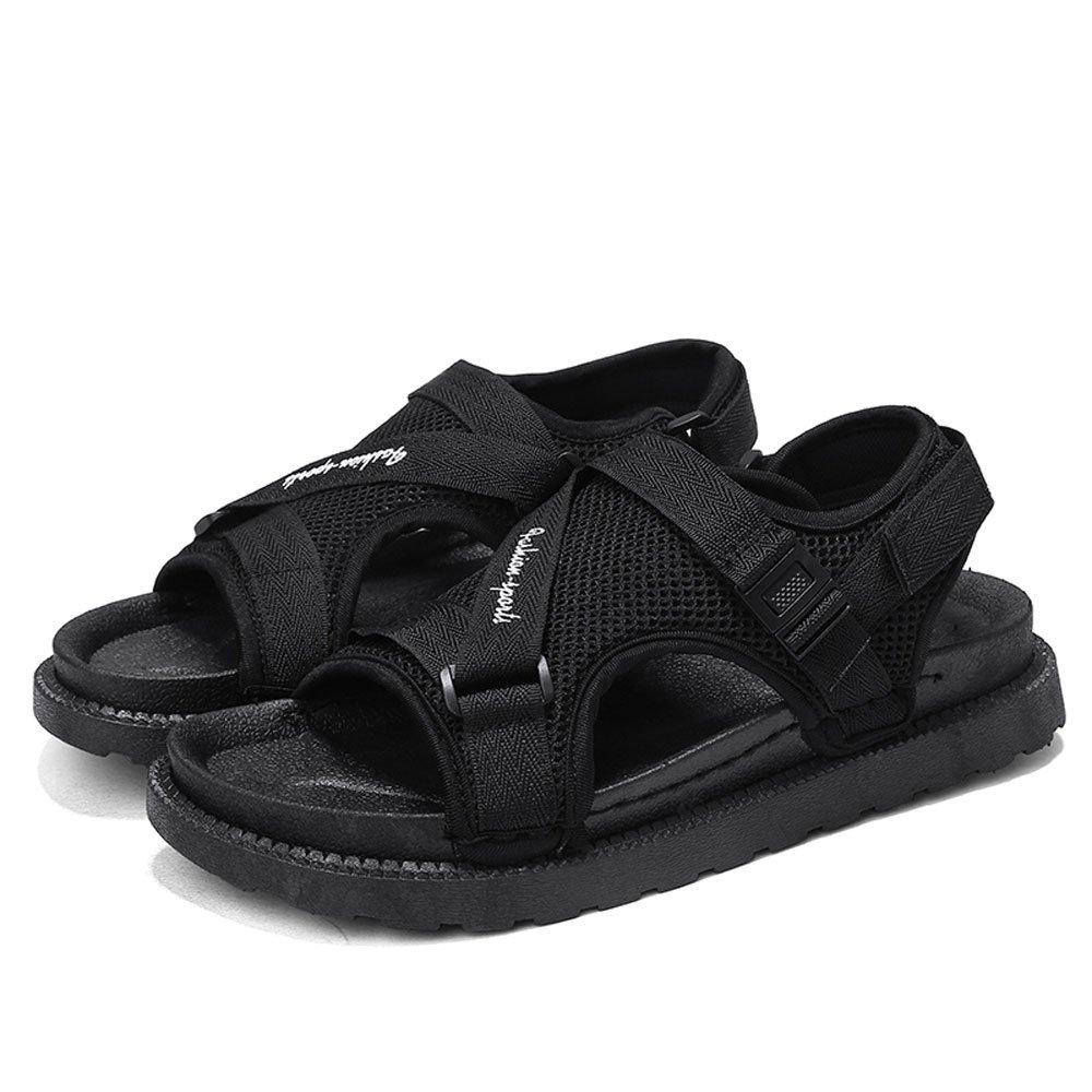 CJZHE Men's Flat Slippers Summer Non-Slip Beach Sandals Casual Wear Sandals (11 B (M) US, Black)
