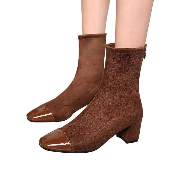 Longra ☂☂ Zapatos con Cremallera de Gamuza Cuadrada para Mujer, Botas de Punta de Piel Lisa: Amazon.es: Ropa y accesorios
