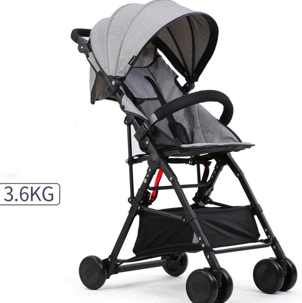 ベビーカート超軽量ポータブル&折りたたみ自転車、1ヶ月-4歳の高さの赤ちゃんのベビーカーベビー4輪ベビートロリー目覚まし (色 : グレー) B07DVD1V1M グレー グレー