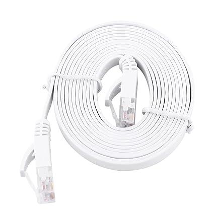 Delaman RJ45 CAT6 Ethernet Network Cable Flat LAN UTP Patch Router Cables 1000M White (2M
