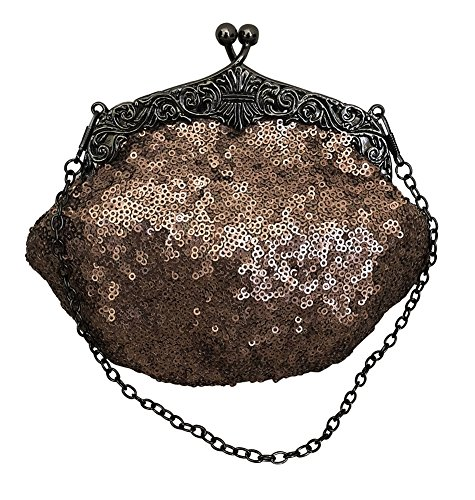Chicastic Full Sequin Mesh Beaded Antique Style Wedding Evening Formal Cocktail Clutch Purse - Bronze Brown -