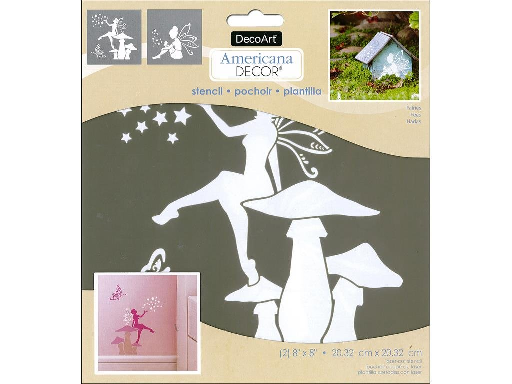 Decoart DECADS-K.202 Decor Stencil 8x8 Fairies Americana Decor Stencil 8x8 Fairies
