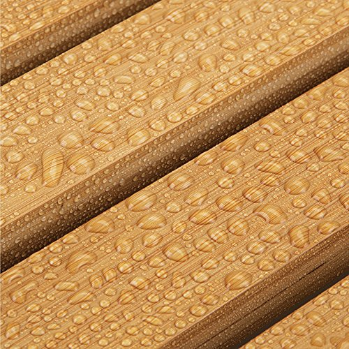 mDesign Natural Bamboo Non-Slip Rectangular Spa Bath Mat - for Bathroom Showers, Bathtubs, Floors - Slatted Design, Eco-Friendly - Indoor and Outdoor use - 100% Bamboo Wood, Natural Light Wood by mDesign (Image #3)