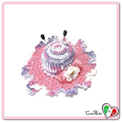 Alfiletero rosa y lila en forma de sombrero de ganchillo ...
