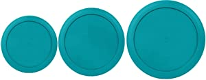 Klareware 2 Cup 4 cup 7 Cup Round Plastic Food Storage Replacement Lids Covers for Klareware Anchor Hocking and Pyrex Glass Bowls (Container not Included) (Turquoise)