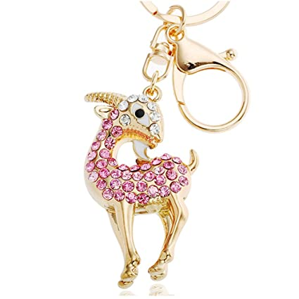 Amazon.com  Women s Gold Plated Crystal Rhinestone Goat Sheep Keychain  Pendant Keychain Charms (Pink)  Office Products 98b9c82a83