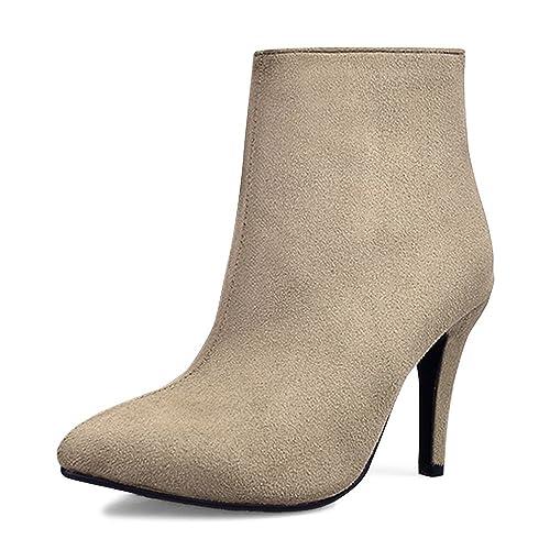 Simple Aiguilles Elegant Femme Chaussure Talons Hauts OCHENTA Suedine Mode Bottes Bottines RL45j3ScAq