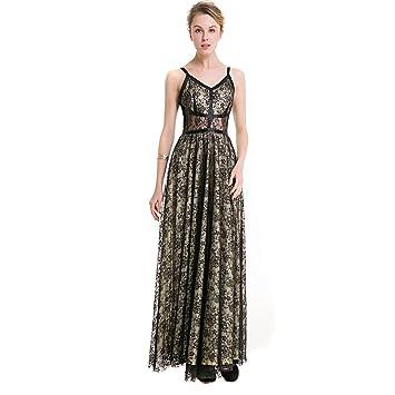 YAN Vestido de Mujer Vestido de Las Mujeres de Encaje Autocultivo Péndulo Largo de Encaje Elegante