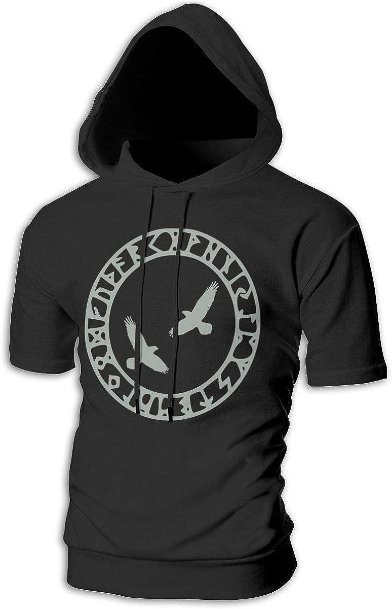 Azreal Duan Odins Ravens Mens Slim Fit Short Sleeve Hoodie Pullover Hooded Sweatshirt Short Sleeve Athletic Hoodies
