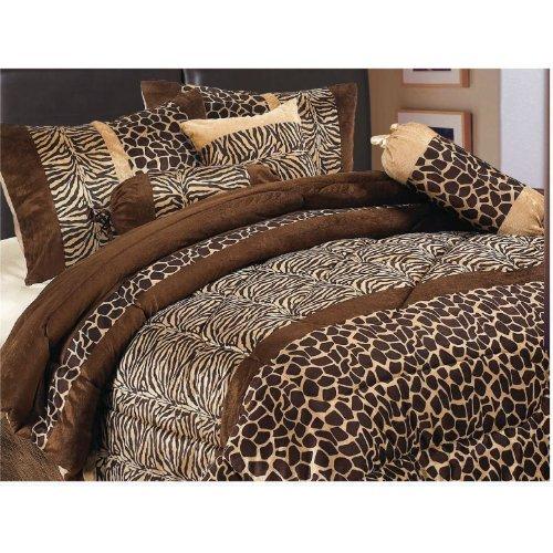 Grand Linen 7 Piece Safari -Zebra Giraffe Print Micro Fur Comforter Set, Bed in Bag, Full (Double), Brown