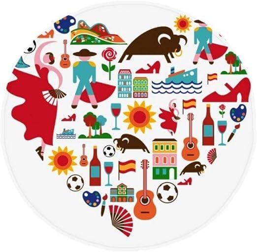 DIYthinker Colchoneta Redonda con diseño de Corazones de España con Bandera de Flamenco Antideslizante para el Suelo de Mascotas, para el baño, el salón, la Cocina, la Puerta de 80 cm, Regalo: