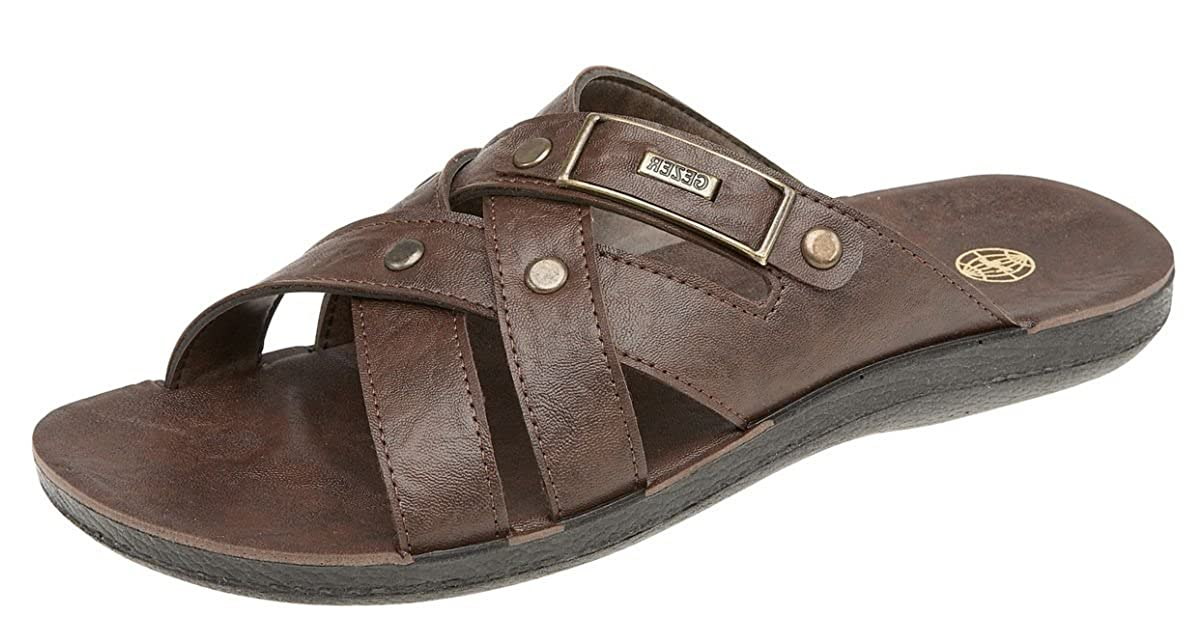 8f03c26cd90 Mens Gezer Leather Look Mule Style Jesus Sandals Mules Brown Size 7   Amazon.co.uk  Shoes   Bags