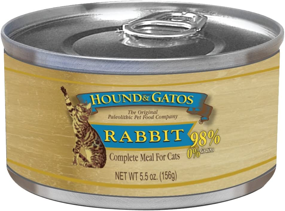 Hound Gatos American Rabbit Canned Cat Food – 5.5 oz 24 can case