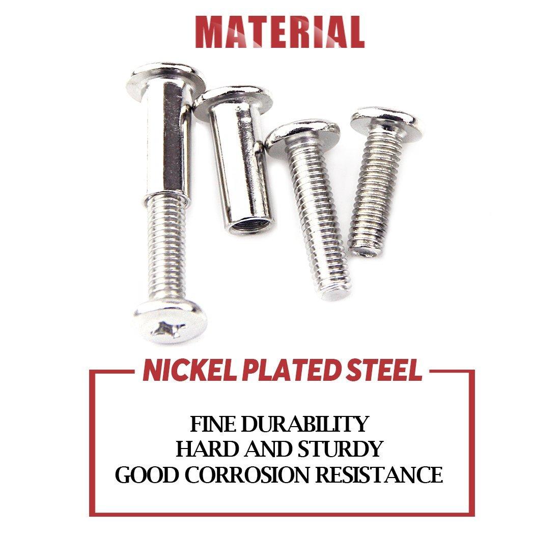 Hilitchi 120-Pcs M6 x 25//35 75mm Rivet Phillip Countersunk Head Screws Bolts Dowel Barrel Nuts Assortment Kit for Furniture Hardware Fitting 65 45//55